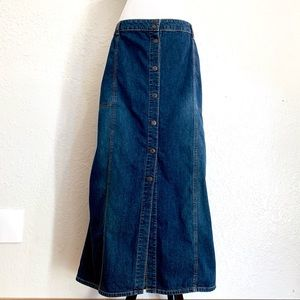 Vintage Old Navy Maxi Denim Skirt Snap Buttons